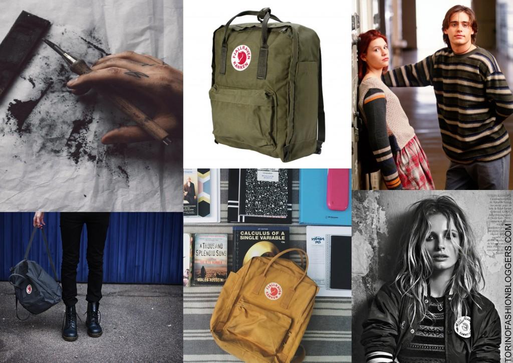 bohemian artist, zaino kanken, grunge,back to school , moodboard, backpack,