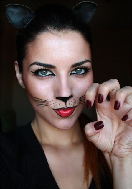 cat black make up easy last minute halloween
