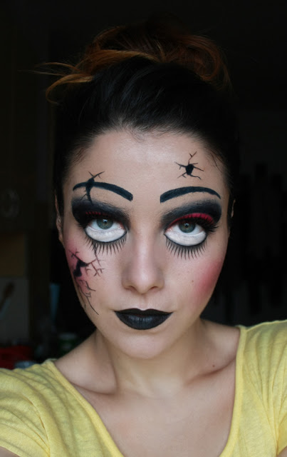 creepy doll makeup halloween last minute easy