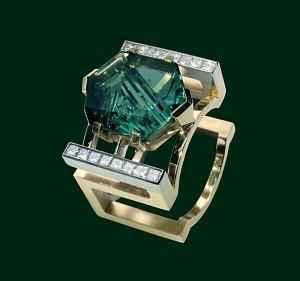 Enrico Cirio sedia anello tormalina oro gioiello