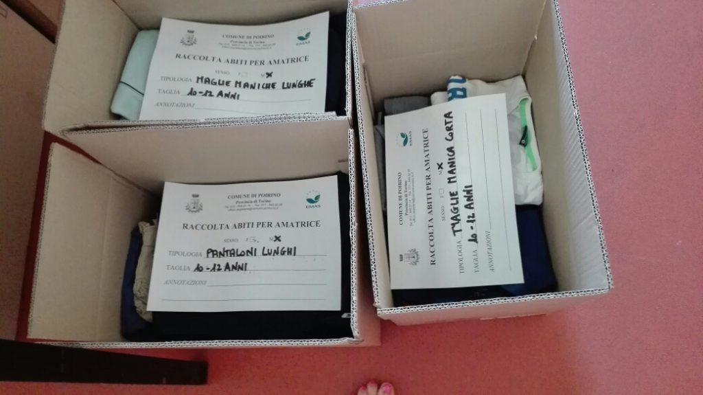 Api di Carta associazione centro di raccolta Poirino terremoto scatole smistamento abiti