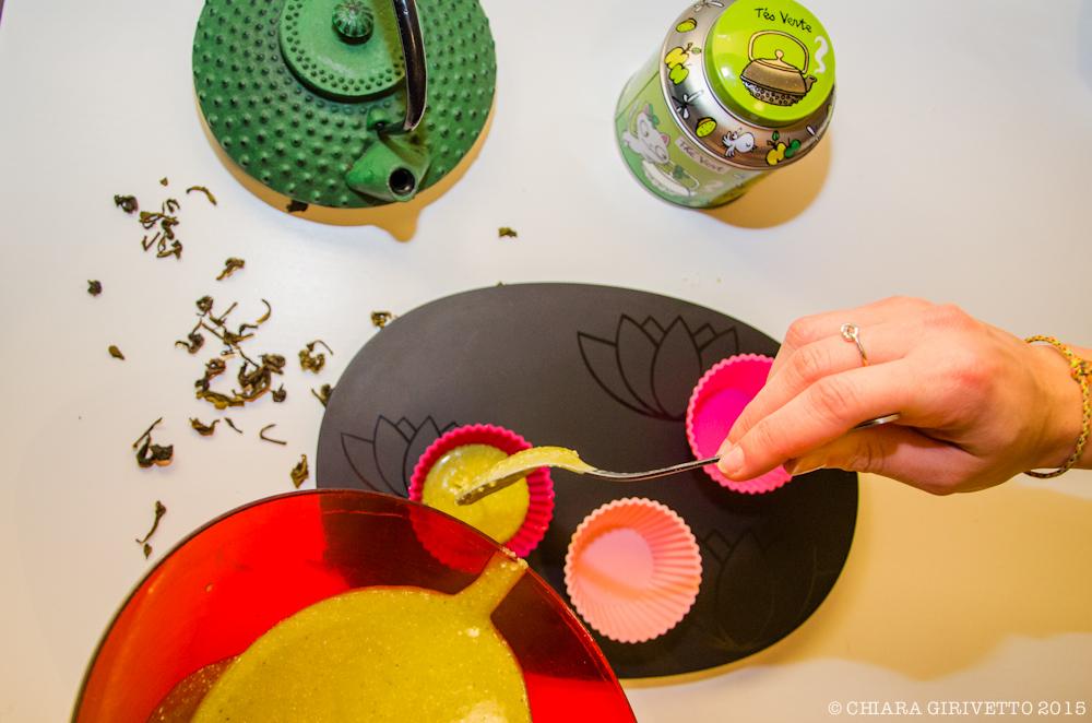 Muffin tè verde matcha riempire pirottini