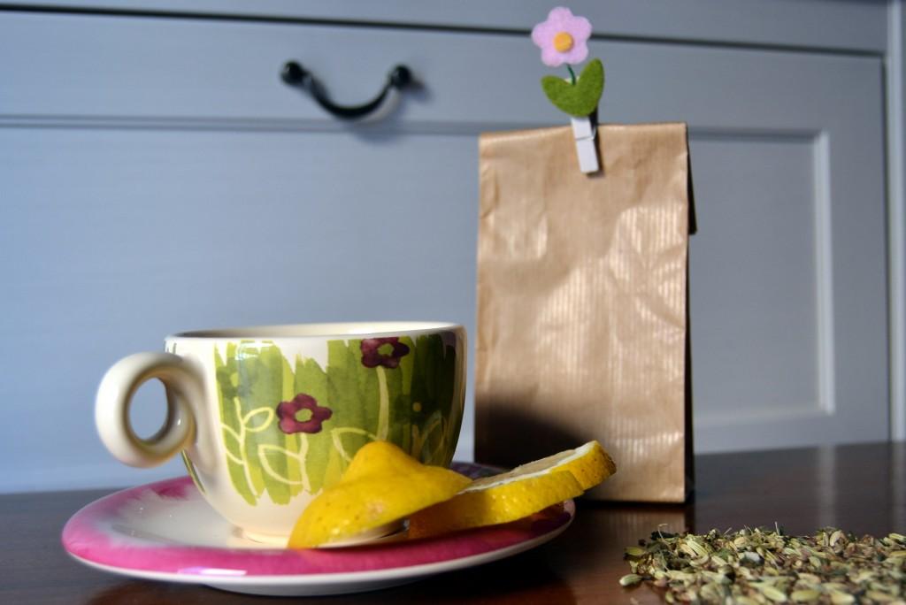 tazza, tea, fiore, limone, detox