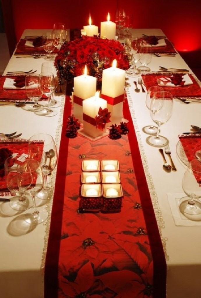runner, rosso, candele, natale