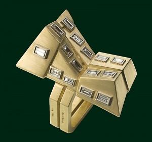 Enrico Cirio grattacielo spaccato anello oro giallo diamanti gioiello
