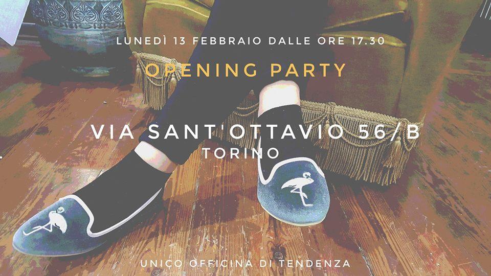 Unico Officina di Tendenza opening party Torino locandina scarpe e accessori