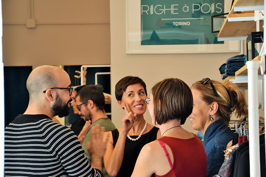 Torino Fashion Bloggers Righe à Pois festa negozio party Alessia Olivetti